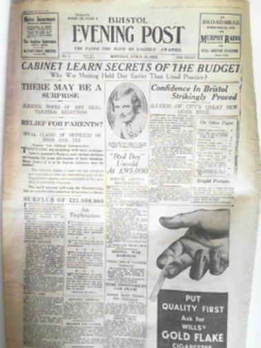 - Bristol Evening Post, no.1, Monday, April 18, 1932