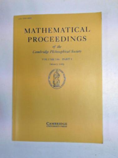 PATERNAIN, G.P. (ED) - Mathematical Proceedings of the Cambridge Philosophical Society, volume 146, part 1, January 2009